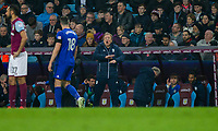 Cardiff City manager Neil Warnock speaks with Callum Paterson of Cardiff City during the Sky Bet Championship match between Aston Villa and Cardiff City at Villa Park, Birmingham, England on 10 April 2018. Photo by Mark  Hawkins / PRiME Media Images.