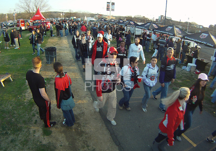 Fans of D.C. United  head to the stadium during the opening match of the 2011 season against the Columbus Crew at RFK Stadium, in Washington D.C. on March 19 2011.D.C. United won 3-1.