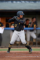 Bristol Pirates catcher Gabriel Brito (52) at bat during a game against the Bluefield Blue Jays on July 26, 2018 at Bowen Field in Bluefield, Virginia.  Bristol defeated Bluefield 7-6.  (Mike Janes/Four Seam Images)