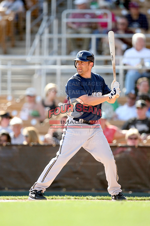 March 11,2009: Mike Lamb (20) of the Milwaukee Brewers at Camelback Ranch in Glendale, AZ.  Photo by: Chris Proctor/Four Seam Images