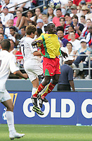 Robbie Rogers (7) and Cassim Langainge (4) go up for the header. USA defeated Grenada 4-0 during the First Round of the 2009 CONCACAF Gold Cup at Qwest Field in Seattle, Washington on July 4, 2009.