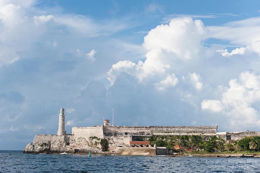 Havana, Cuba; Fortaleza de San Carlos de la Cabana viewed across the entrance to Havana harbor, also known as the Castillo del Morro it was designed by Giovanni Bautista Antonelli