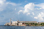 Havana, Cuba; Fortaleza de San Carlos de la Cabana viewed across the entrance to Havana harbor, also known as the Castillo del Morro it was designed by Giovanni Bautista Antonelli