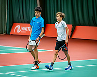 Wateringen, The Netherlands, December 15,  2019, De Rhijenhof , NOJK juniors doubles 12/14/16  years, Hidde van der Vliet (NED) and Justus Haaijema (NED) (R)<br /> Photo: www.tennisimages.com/Henk Koster