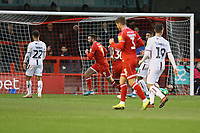 Ollie Palmer (9) of Crawley Town scores the first goal for his team during Crawley Town vs Bradford City, Sky Bet EFL League 2 Football at Broadfield Stadium on 11th January 2020