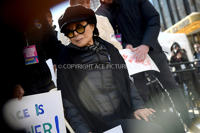 www.acepixs.com<br /> January 20, 2018  New York City<br /> <br /> Yoko Ono on stage at the Women's March on January 20, 2018 in New York City.<br /> <br /> Credit: Kristin Callahan/ACE Pictures<br /> <br /> Tel: 646 769 0430<br /> Email: info@acepixs.com