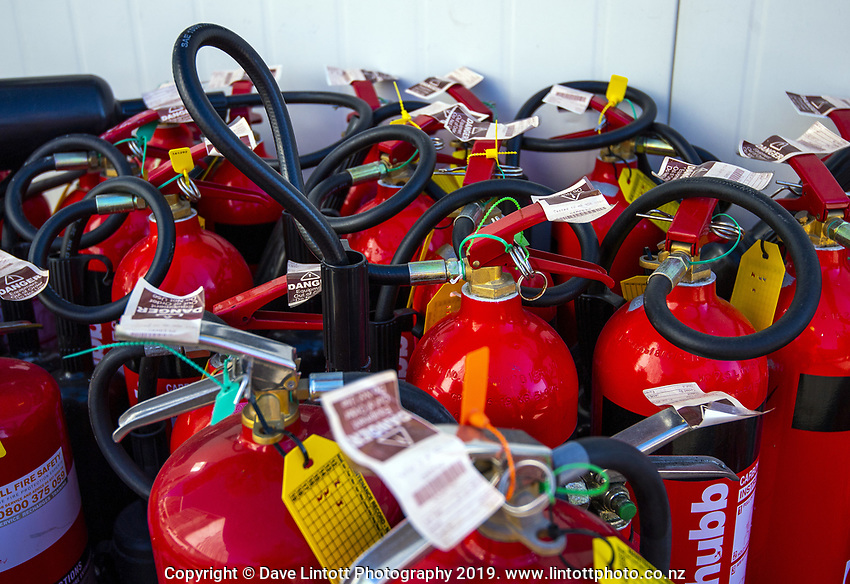 Fire extinguishers. 60 Waterloo Quay demolition site in Wellington, New Zealand on Monday, 29 July 2019. Photo: Dave Lintott / lintottphoto.co.nz