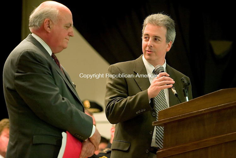 WATERBURY, CT- 02 MAY 2008 --050208JS04-Craig Sullivan, son of the late William J. Sullivan and Corporation Council for the City of Waterbury, right, introduces Chief Appellate Court Judge Joseph P. Flynn, left, during grand opening ceremonies for the Senator William J. Sullivan Learning Center on Griggs Street in Waterbury on Friday. Jim Shannon / Republican-American
