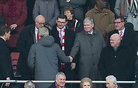 Arsenal Manager Arsene Wenger shakes hands with former Assistant Pat Rice during the Premier League match between Bournemouth and Arsenal at the Goldsands Stadium, Bournemouth, England on 14 January 2018. Photo by Andy Rowland.