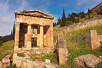 The reconstructed Treasury of Athens, built to commemorate their victory at the Battle of Marathon. Delphi, archaeological site, Greece,