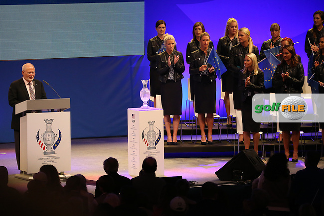 Receiving a standing ovation Mr John Solheim gives his address during the Opening Ceremony of The Solheim Cup 2015 played at Golf Club St. Leon-Rot, Mannheim, Germany.  17/09/2015. Picture: Golffile | David Lloyd<br /> <br /> All photos usage must carry mandatory copyright credit (&copy; Golffile | David Lloyd)