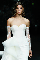 Pronovias fashion show during the Valmont Barcelona Bridal Fashion Week at the Italian Pavilion Fira Montjuic in Barcelona on April 26, 2019.<br /> Marta Ortiz