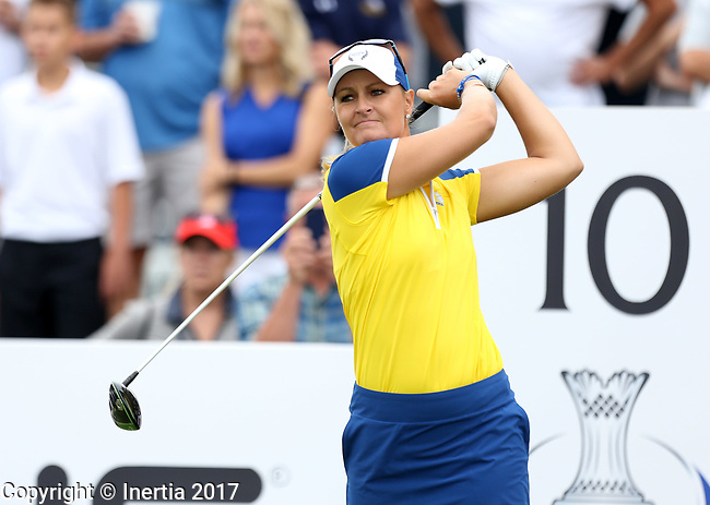 DES MOINES, IA - AUGUST 19: Europe's Anna Nordqvist watches her tee shot on the 10th hole during Saturday morning's foursomes match at the 2017 Solheim Cup in Des Moines, IA. (Photo by Dave Eggen/Inertia)