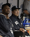 (R-L) Masahiro Tanaka, CC Sabathia (Yankees),<br /> APRIL 18, 2015 - MLB :<br /> Masahiro Tanaka and CC Sabathia of the New York Yankees sit in the dugout during the Major League Baseball game against the Tampa Bay Rays at Tropicana Field in St. Petersburg, Florida, United States. (Photo by AFLO)