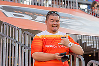 Houston, TX - Saturday May 13, a Houston Dash fan during a regular season National Women's Soccer League (NWSL) match between the Houston Dash and Sky Blue FC at BBVA Compass Stadium. Sky Blue won the game 3-1.