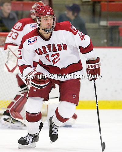 Brendan Rempel (Harvard - 42) -  - The visiting Merrimack College Warriors defeated the Harvard University Crimson 3-1 (EN) at Bright Hockey Center on Tuesday, November 30, 2010.