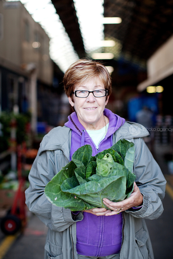 26/8/2011. Dublin Fruit and Vegetable Market.  Moore st Trader Teresa Lynch is pictured at the Dublin Fruit and Vegetable Market. Picture James Horan/Collins Photos