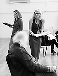 """King Lear"" rehearsed reading rehearsals. Old Vic Theatre. Director: Jonathan Miller. L to R: Greta Scaachi, Joss Ackland, Felicity Dean."