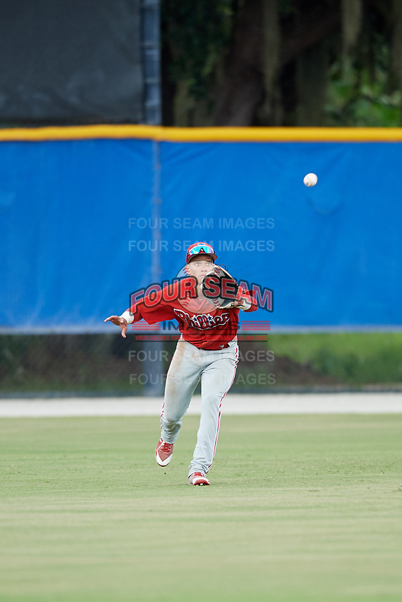 GCL Phillies West center fielder Luis Matos (25) tracks a fly ball during a game against the GCL Blue Jays on August 7, 2018 at Bobby Mattick Complex in Dunedin, Florida.  GCL Blue Jays defeated GCL Phillies West 11-5.  (Mike Janes/Four Seam Images)