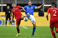 Giorgio Chiellini of Italy and Andre Silva of Portugal compete for the ball during the Nations League League A group 3 football match between Italy and Portugal at stadio Giuseppe Meazza, Milano, November, 17, 2018 <br /> Foto Andrea Staccioli / Insidefoto