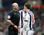 Referee Mike Dean talks to Craig Gardner of West Bromwich Albion - English Premier League - West Bromwich Albion vs Manchester Utd - The Hawthorns Stadium - West Bromwich - England - 6th March 2016 - Picture Simon Bellis/Sportimage