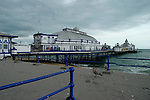 Eastbourne Pier in typical British weather, East Sussex, England