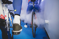 Olivier Le Gac (FRA/FDJ) and teammates smoked out while awaiting to enter the legendary Kuipke for their team presentation.<br /> <br /> 73th Omloop Het Nieuwsblad 2018<br /> Gent-Meerbeke (BEL) - 196km