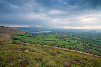 View towards Llangorse lake from Mynydd Llangorse, Brecon Beacons national park, Wales