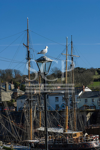 Cornwall, West Country, England. Sunny, April day. Charlestown harbour with tallships.