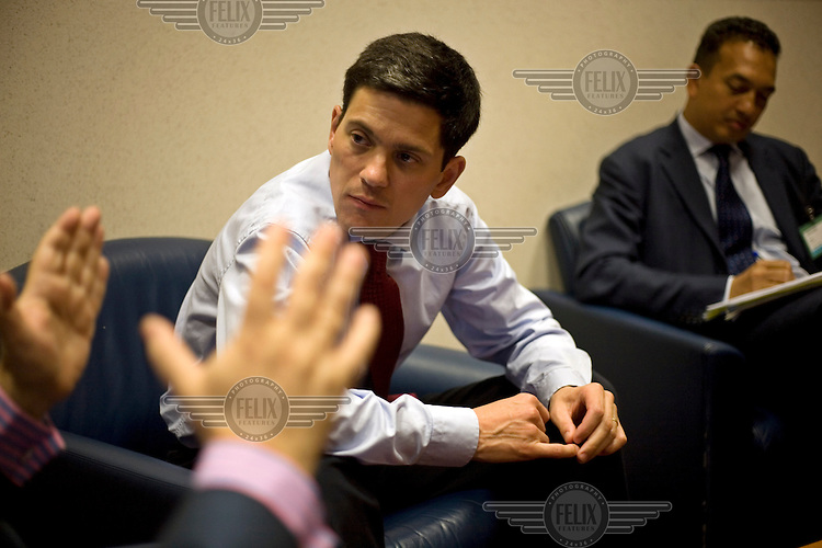 David Miliband, British Secretary of State for Foreign and Commonwealth Affairs, and Member of Parliament for South Shields, Tyne and Wear, during an informal meeting with the Spanish Foreign Minister, Miguel Morantinos.