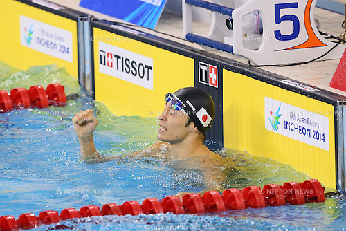 Ryosuke Irie (JPN), <br /> SEPTEMBER 25, 2014 - Swimming : <br /> Men's 200m Backstroke Final <br /> at Munhak Park Tae-hwan Aquatics Center <br /> during the 2014 Incheon Asian Games in Incheon, South Korea. <br /> (Photo by YUTAKA/AFLO SPORT)