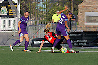 Rochester, NY - Saturday June 11, 2016: Orlando Pride forward Laura Alleway (5), Orlando Pride defender Monica Hickman Alves (21), Western New York Flash midfielder Samantha Mewis (5) during a regular season National Women's Soccer League (NWSL) match between the Western New York Flash and the Orlando Pride at Rochester Rhinos Stadium.