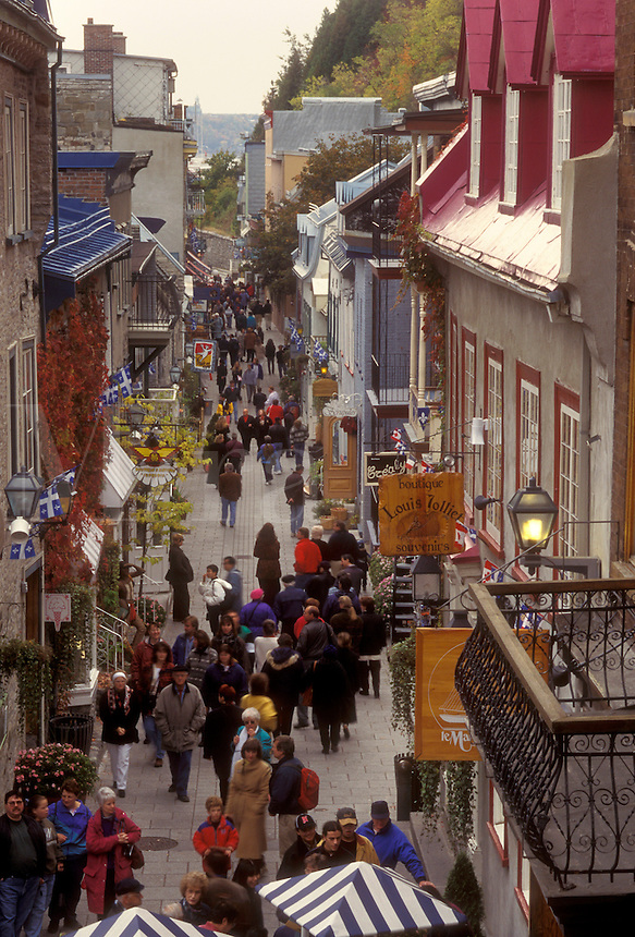 Canada, Quebec, People walking along the Rue Petit-Champlain of Quebec City