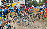 NWA Democrat-Gazette/BEN GOFF @NWABENGOFF<br /> Racers start the UCI Junior Men event Sunday, Oct. 6, 2019, during the the Fayettecross cyclocross races at Centennial Park at Millsap Mountain in Fayetteville.