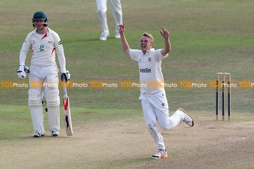 Jamie Porter of Essex celebrates taking the wicket of Ned Eckersley - Leicestershire CCC vs Essex CCC - LV County Championship Division Two Cricket at Grace Road, Leicester - 16/09/14 - MANDATORY CREDIT: Gavin Ellis/TGSPHOTO - Self billing applies where appropriate - contact@tgsphoto.co.uk - NO UNPAID USE