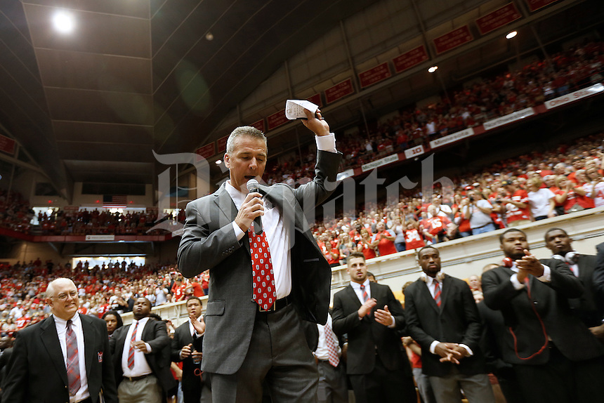 Ohio State Buckeyes head coach Urban Meyer speaks to the crowd during the Skull Session in St. John Arena before the college football game between the Ohio State Buckeyes and the Northern Illinois Huskies at Ohio Stadium in Columbus, Saturday afternoon, September 19, 2015. (The Columbus Dispatch / Eamon Queeney)
