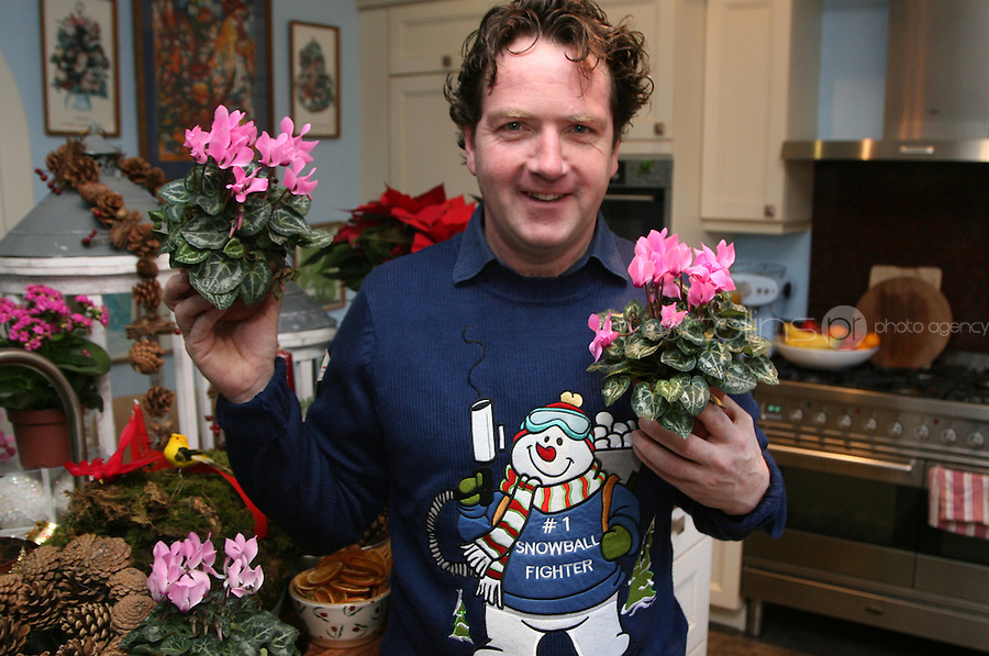 3/12/2012.Make your own Christmas gifts with plants.<br /> Put cyclamen in pots at the front door.<br /> Daily Mirror Gardening columnist, Diarmuid Gavin pictured at his home in Co. Wicklow, Ireland...Picture Collins, Dublin.