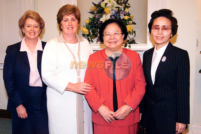 Ann Flanagan, manager An Grianan and Breeda Raggett, National President ICA with Peiyun Peng, Vice Chairperson of the Standing Committee National People's Congress of China and Xiaokang Zhang, Embassador during thier visit to An Grianan..Picture: Paul Mohan/Newsfile