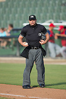 Home plate umpire Alex Trujillo inspects a baseball during the South Atlantic League game between the Hagerstown Suns and the Kannapolis Intimidators at Intimidators Stadium on July 18, 2015 in Kannapolis, North Carolina.  The Intimidators defeated the Suns 1-0.  (Brian Westerholt/Four Seam Images)