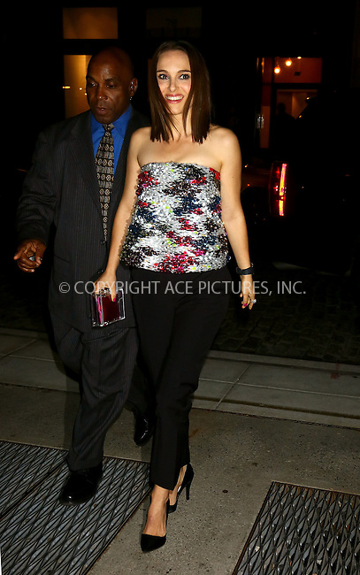 WWW.ACEPIXS.COM<br /> <br /> November 6 2013, New York City<br /> <br /> Actress Natalie Portman arrives at a screening of 'Thor: The Dark World' at the Crosby hotel on November 6 2013 in New York City<br /> <br /> By Line: Philip Vaughan/ACE Pictures<br /> <br /> ACE Pictures, Inc.<br /> tel: 646 769 0430<br /> Email: info@acepixs.com<br /> www.acepixs.com
