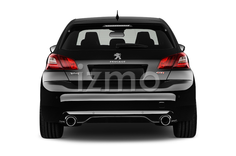 Straight rear view of 2016 Peugeot 308 GTI 5 Door Hatchback Rear View  stock images