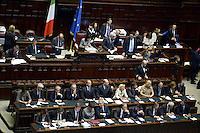 Roma, 29 Aprile 2013.Camera dei Deputati.Il Governo Letta chiede la fiducia alla Camera dei Deputati..Nella foto i banchi dei Ministri prima del discorso di Enrico Letta