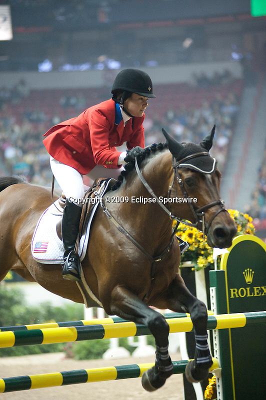 17 April 2009: Danielle Torano (USA) and Vancouver D'Auvrey at the Rolex World Cup Jumping Final II.