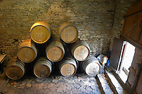 Domaine Piccinini in La Liviniere Minervois. Languedoc. Barrel cellar. France. Europe.