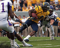 WVU wide receiver Jock Sanders. The WVU Mountaineers defeated the East Carolina Pirates 35-20 at Mountaineer Field at Milan Puskar Stadium, Morgantown, West Virginia on September 12, 2009.