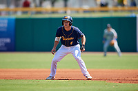 Montgomery Biscuits second baseman Brandon Lowe (6) leads off first base during a game against the Biloxi Shuckers on May 8, 2018 at Montgomery Riverwalk Stadium in Montgomery, Alabama.  Montgomery defeated Biloxi 10-5.  (Mike Janes/Four Seam Images)