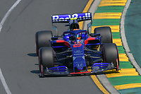 March 16, 2019: Alexander Albon (THA) #23 from the Red Bull Toro Rosso Honda team rounds turn 2 during practice session three at the 2019 Australian Formula One Grand Prix at Albert Park, Melbourne, Australia. Photo Sydney Low