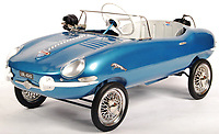 BNPS.co.uk (01202 558833)<br /> Pic: EastBristolAuctions/BNPS<br /> <br /> £2000 - 1960'S E-Type Jaguar pedal car with a 'motor roar' .<br /> <br /> Toy story...<br /> <br /> A remarkable lifetime collection of 30 vintage toy cars has emerged for sale for more than £65,000.<br /> <br /> The fleet of rare pedal cars were acquired over almost half a century by retired car garage owner David Worrow, 72.<br /> <br /> During their time with Mr Worrow they formed what was believed to be the biggest private collection of its kind in the world.