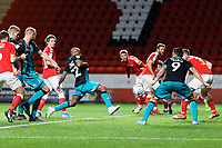 Andre Ayew of Swansea City (C) scores a goal during the Sky Bet Championship match between Charlton Athletic and Swansea City at The Valley, London, England, UK. Wednesday 02 October 2019