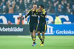 Stockholm 2014-04-16 Fotboll Allsvenskan Djurg&aring;rdens IF - AIK :  <br /> AIK:s Eero Markkanen har gjort 3-0 och jublar med AIK:s Nabil Bahoui  <br /> (Foto: Kenta J&ouml;nsson) Nyckelord:  Djurg&aring;rden DIF Tele2 Arena AIK jubel gl&auml;dje lycka glad happy